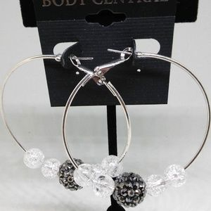 Hoop Earrings Clear Beads Drop/Dangle Pierced 1271